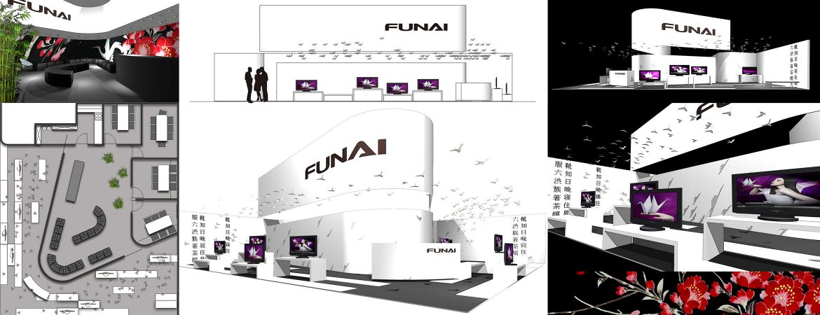trade fair 3d rendering funai floorplan elevation views