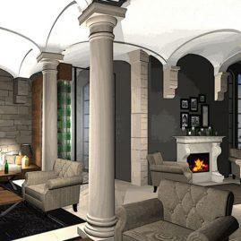 restaurant fireplace lounge area 3D rendering