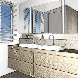 attic conversion bathroom 3d rendering