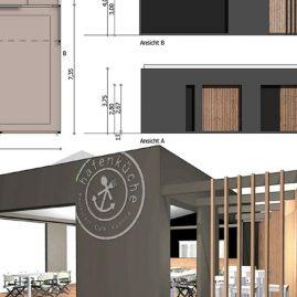 temporary restaurant and Bar Design 3d rendering