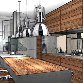 stainless steel island wooden front kitchen 3d rendering