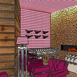 fireplace wooden wall and red wallpaper