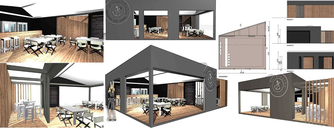 temporary restaurant and Bar Design 3d rendering