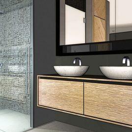 3d rendering bathroom sink mirror